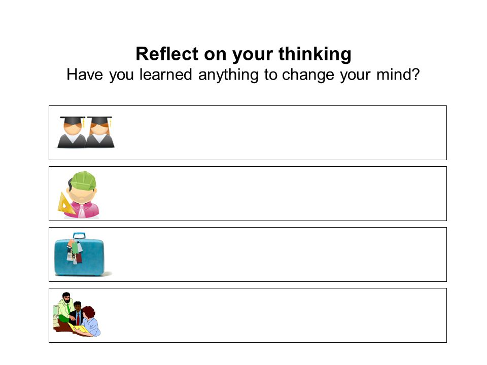 Reflect on your thinking Have you learned anything to change your mind?