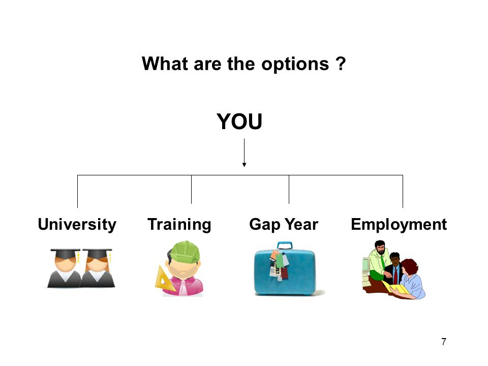 7 What are the options ? YOU UniversityTrainingGap YearEmployment
