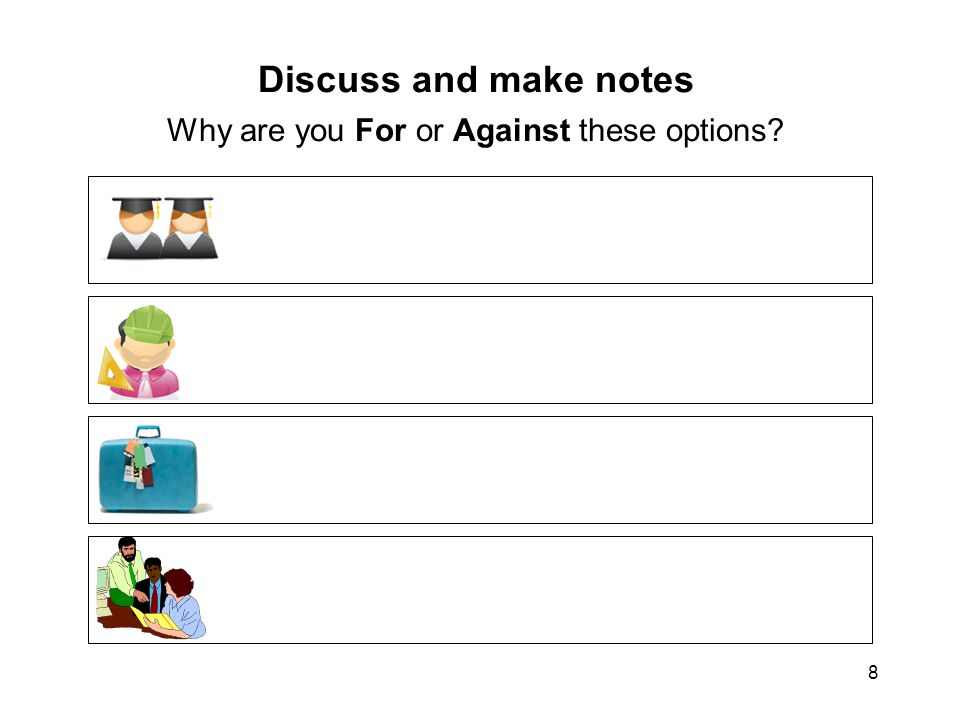 8 Discuss and make notes Why are you For or Against these options?