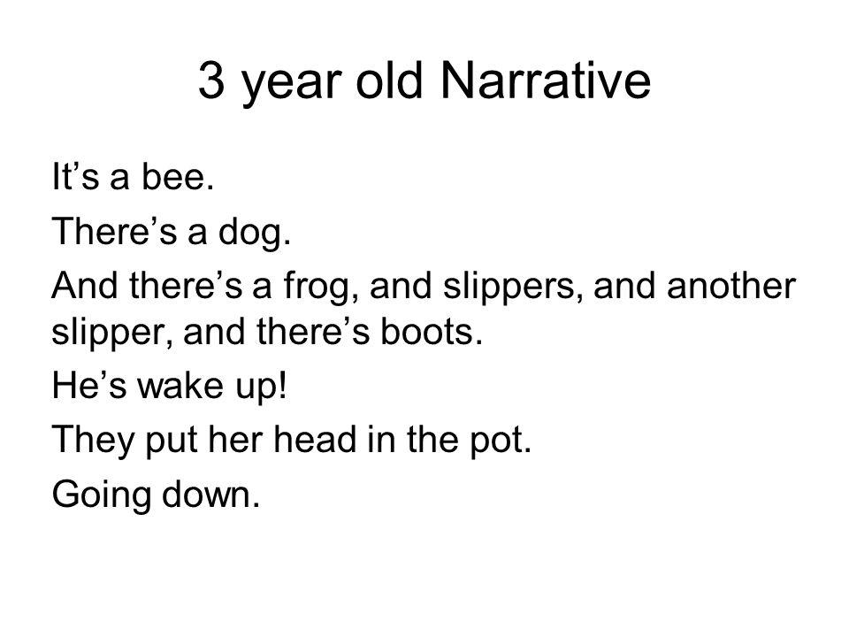 3 year old Narrative Its a bee. Theres a dog.