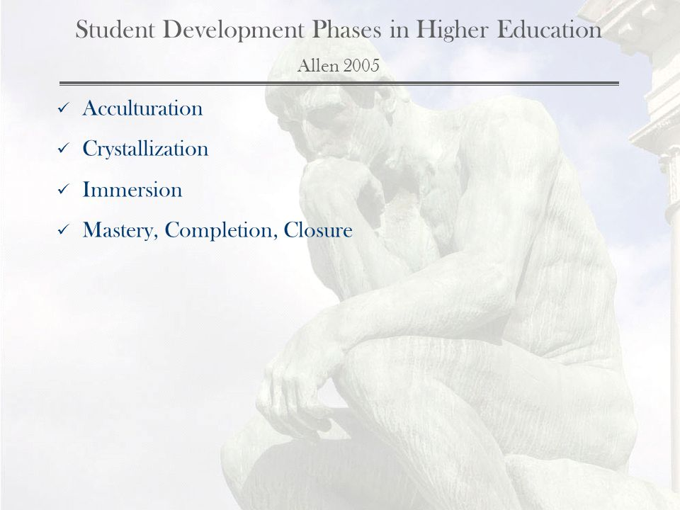 Student Development Phases in Higher Education Allen 2005 Acculturation Crystallization Immersion Mastery, Completion, Closure