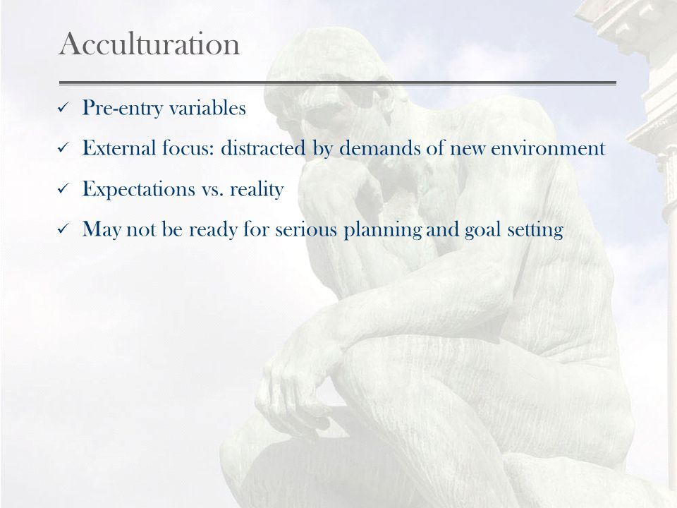 Acculturation Pre-entry variables External focus: distracted by demands of new environment Expectations vs.
