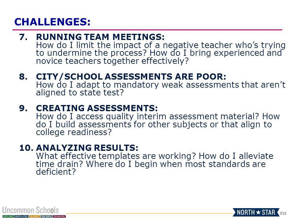 P28 7.RUNNING TEAM MEETINGS: How do I limit the impact of a negative teacher whos trying to undermine the process? How do I bring experienced and novi