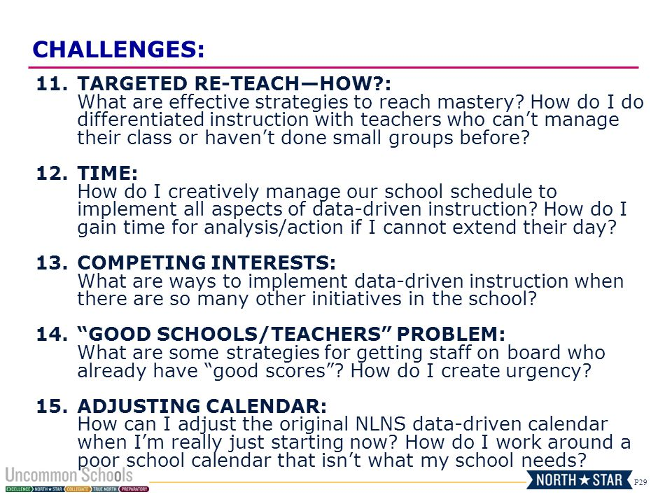 P29 11.TARGETED RE-TEACHHOW?: What are effective strategies to reach mastery? How do I do differentiated instruction with teachers who cant manage the