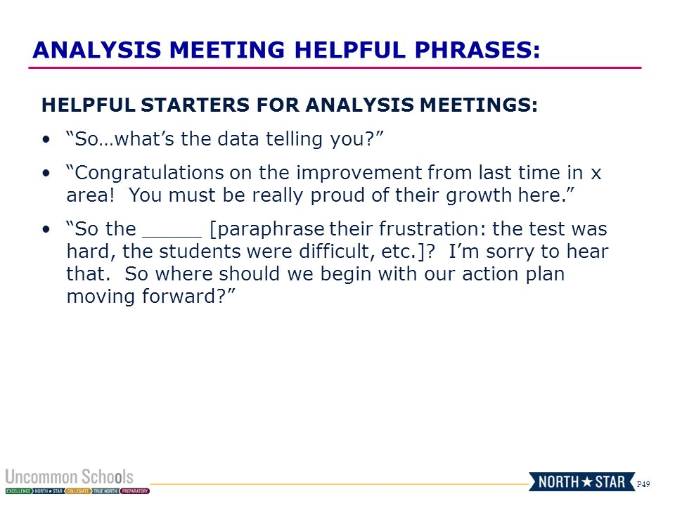 P49 HELPFUL STARTERS FOR ANALYSIS MEETINGS: So…whats the data telling you? Congratulations on the improvement from last time in x area! You must be re