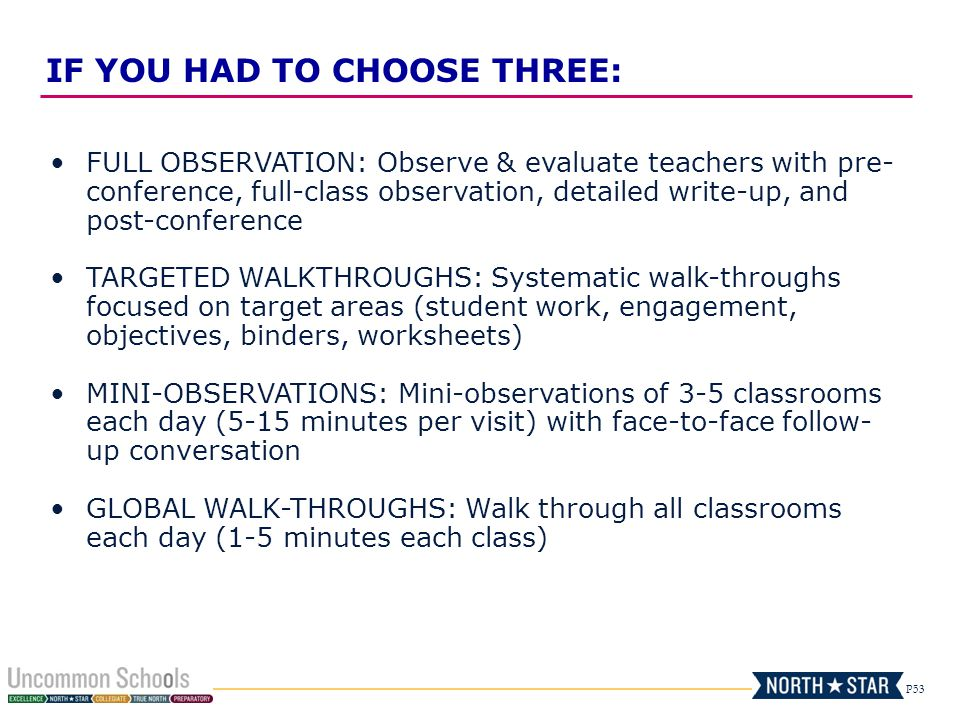 P53 FULL OBSERVATION: Observe & evaluate teachers with pre- conference, full-class observation, detailed write-up, and post-conference TARGETED WALKTH
