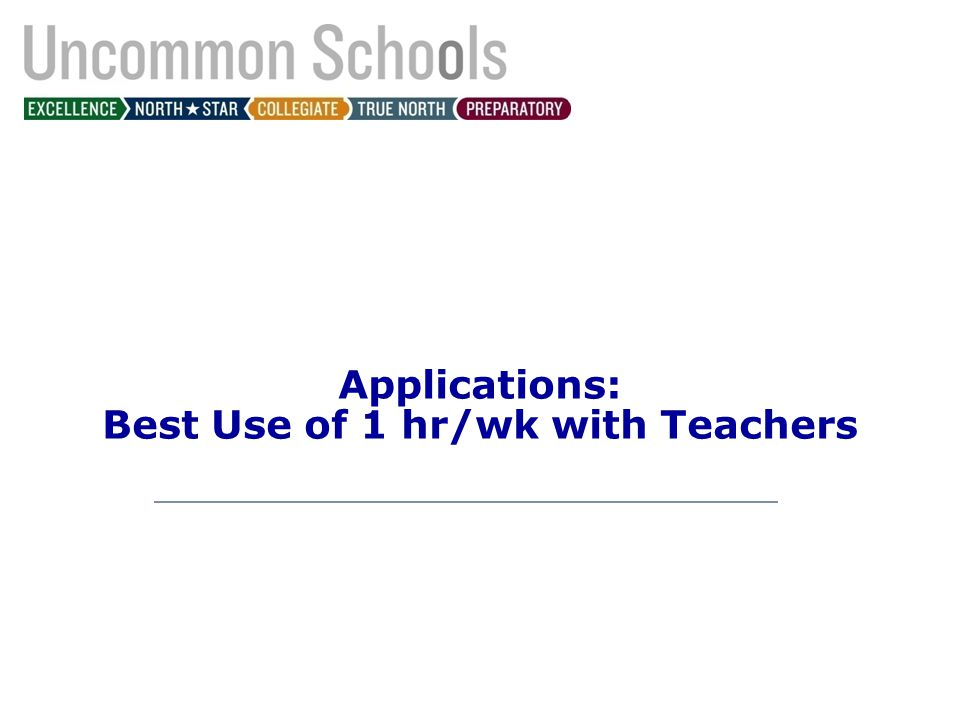 Applications: Best Use of 1 hr/wk with Teachers