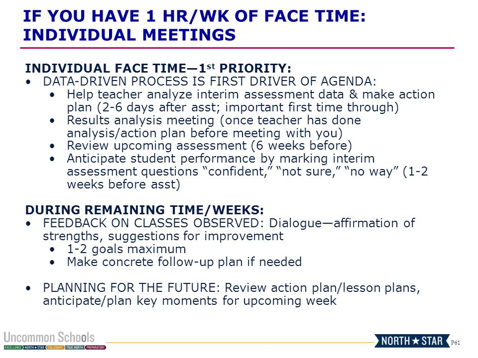 P61 INDIVIDUAL FACE TIME1 st PRIORITY: DATA-DRIVEN PROCESS IS FIRST DRIVER OF AGENDA: Help teacher analyze interim assessment data & make action plan