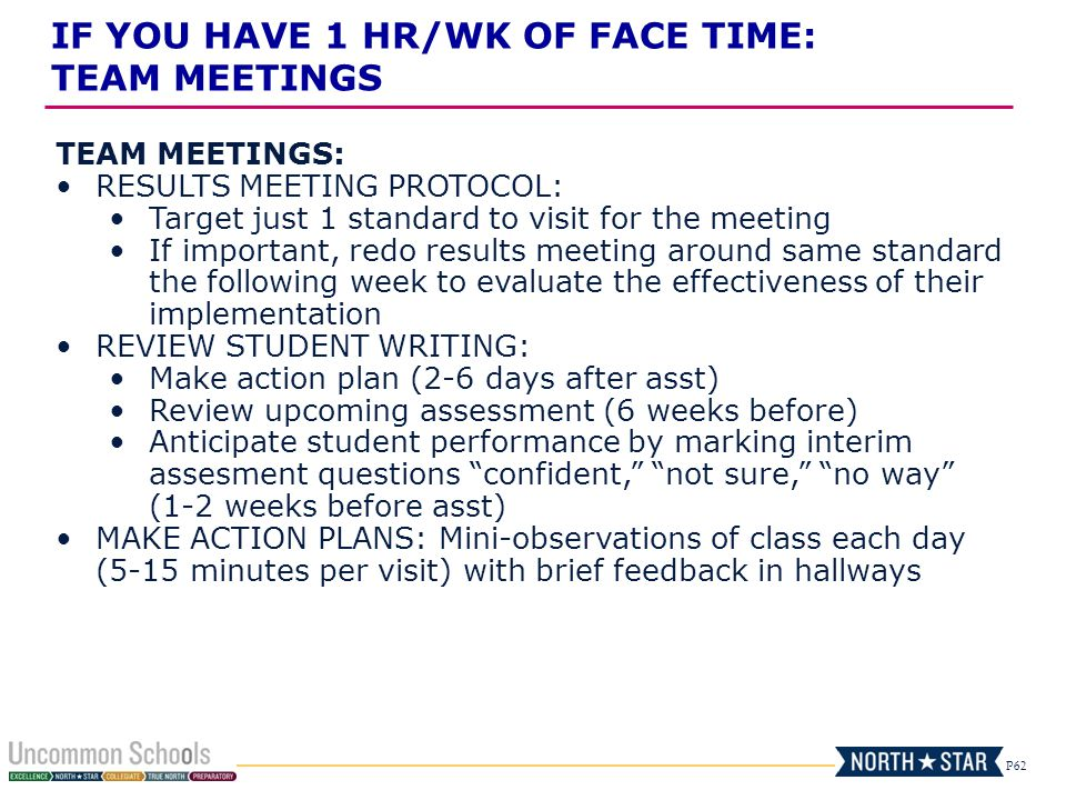 P62 TEAM MEETINGS: RESULTS MEETING PROTOCOL: Target just 1 standard to visit for the meeting If important, redo results meeting around same standard t