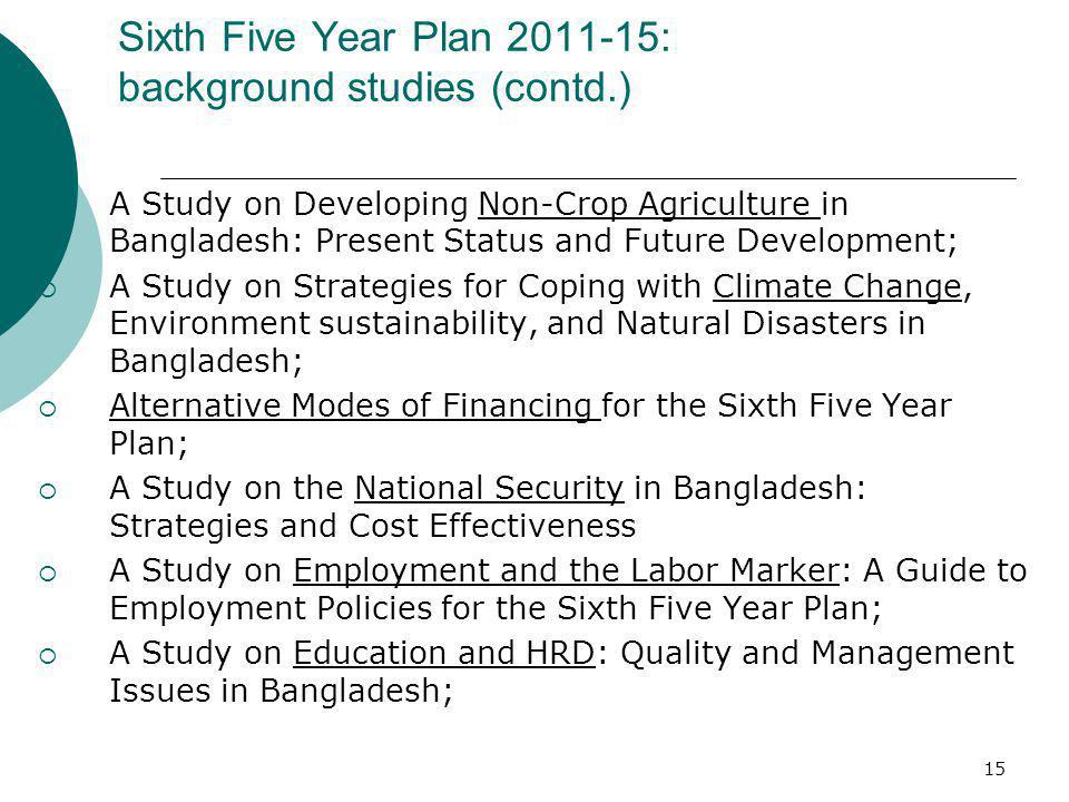 15 Sixth Five Year Plan 2011-15: background studies (contd.) A Study on Developing Non-Crop Agriculture in Bangladesh: Present Status and Future Devel