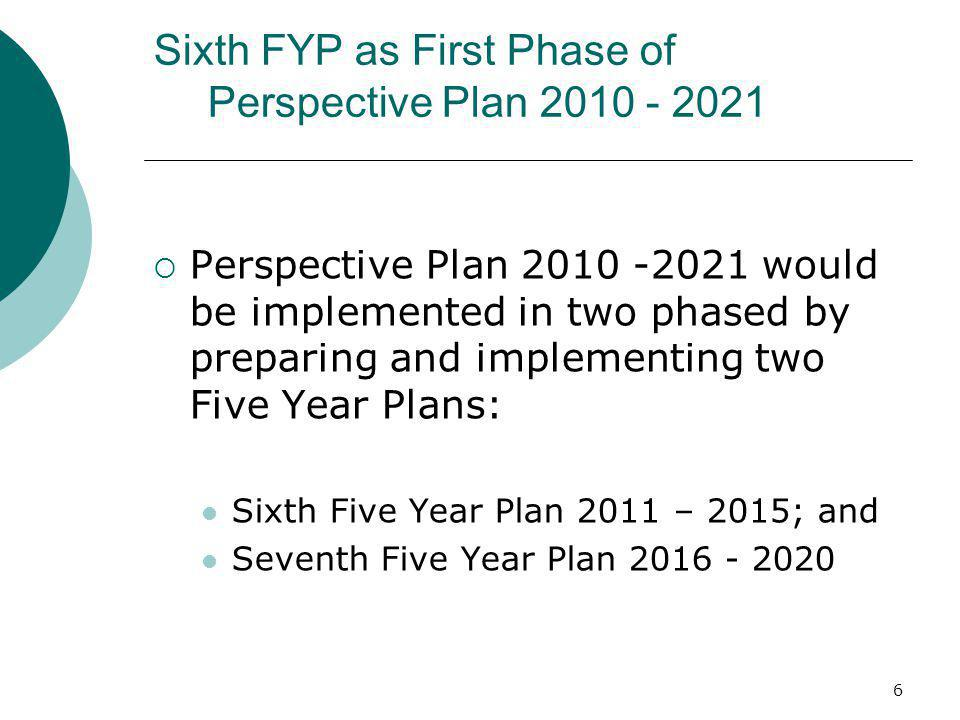 6 Sixth FYP as First Phase of Perspective Plan 2010 - 2021 Perspective Plan 2010 -2021 would be implemented in two phased by preparing and implementin