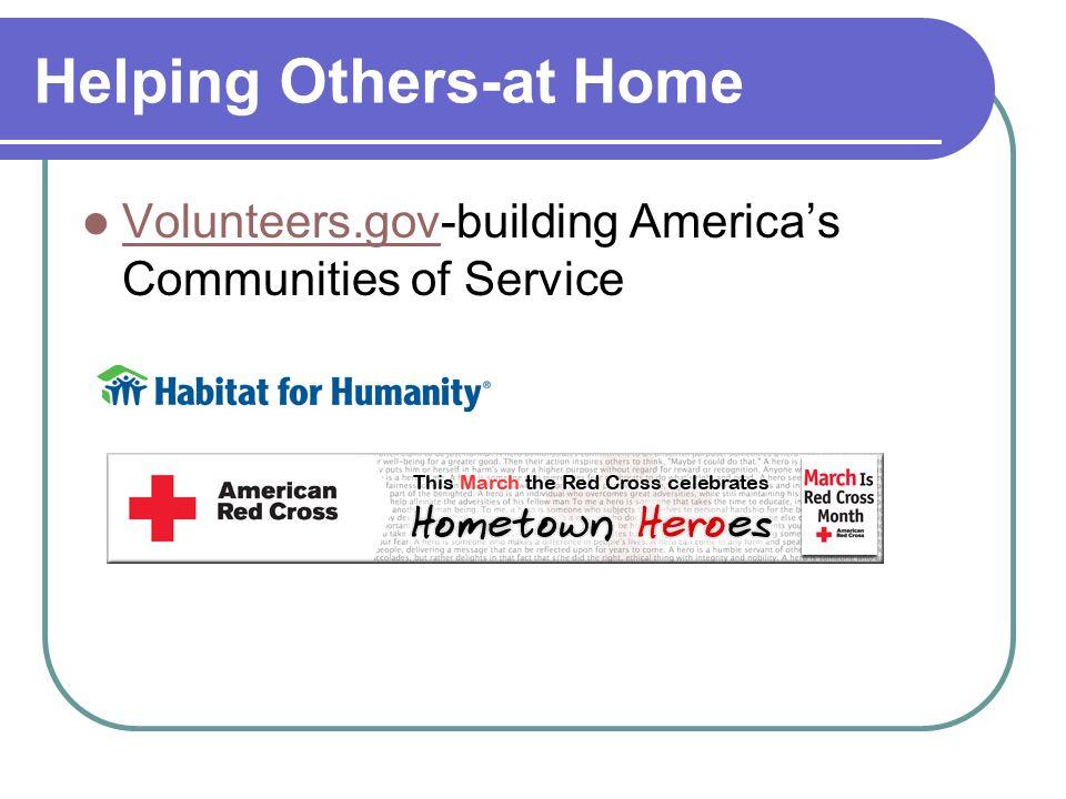 Helping Others-at Home Volunteers.gov-building Americas Communities of Service Volunteers.gov