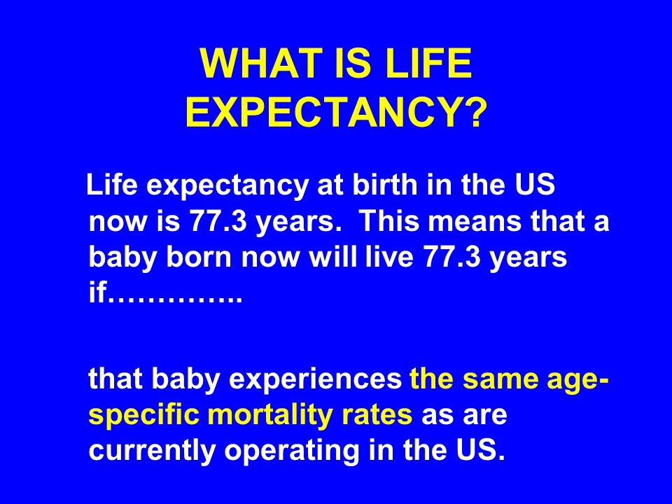 WHAT IS LIFE EXPECTANCY.Life expectancy at birth in the US now is 77.3 years.