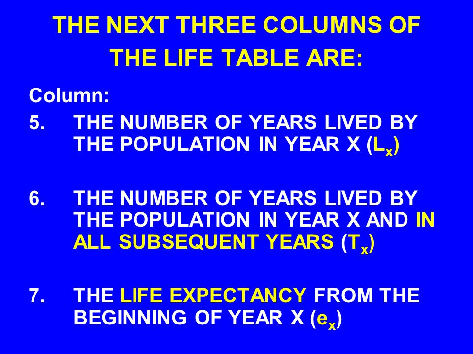THE NEXT THREE COLUMNS OF THE LIFE TABLE ARE: Column: 5.THE NUMBER OF YEARS LIVED BY THE POPULATION IN YEAR X (L x ) 6.THE NUMBER OF YEARS LIVED BY THE POPULATION IN YEAR X AND IN ALL SUBSEQUENT YEARS (T x ) 7.THE LIFE EXPECTANCY FROM THE BEGINNING OF YEAR X (e x )