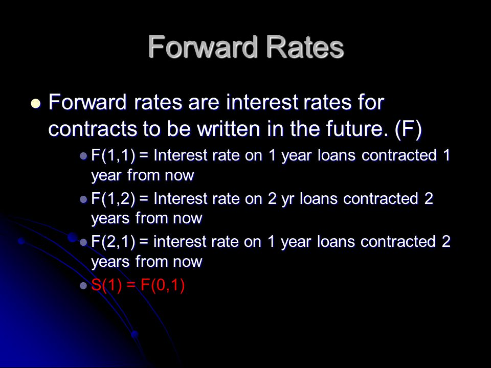 Forward Rates Forward rates are interest rates for contracts to be written in the future.