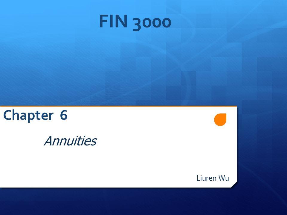 FIN 3000 Chapter 6 Annuities Liuren Wu