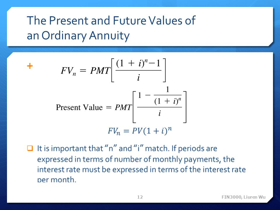 The Present and Future Values of an Ordinary Annuity FIN3000, Liuren Wu 12