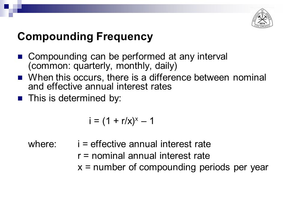 Compounding Frequency Compounding can be performed at any interval (common: quarterly, monthly, daily) When this occurs, there is a difference between