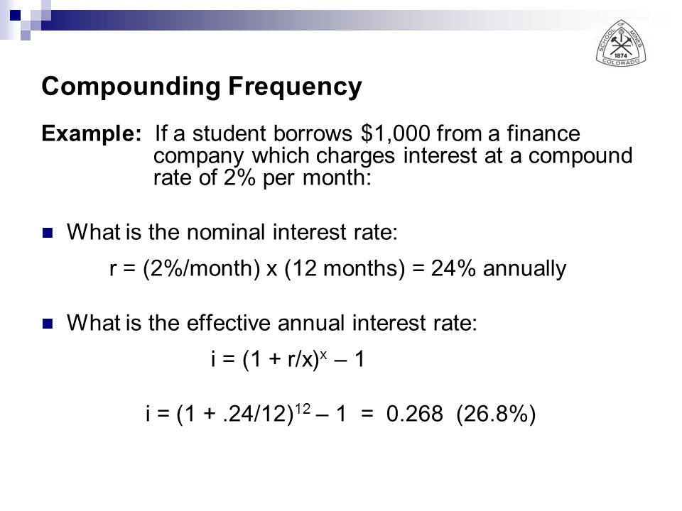 Compounding Frequency Example: If a student borrows $1,000 from a finance company which charges interest at a compound rate of 2% per month: What is t