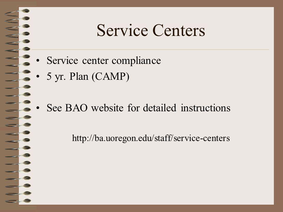 Service Centers Service center compliance 5 yr.