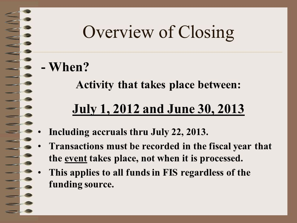 Overview of Closing - When.