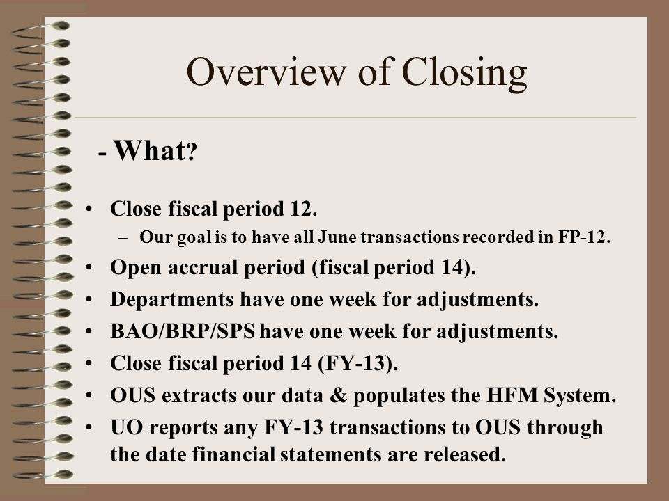 Overview of Closing - What .Close fiscal period 12.