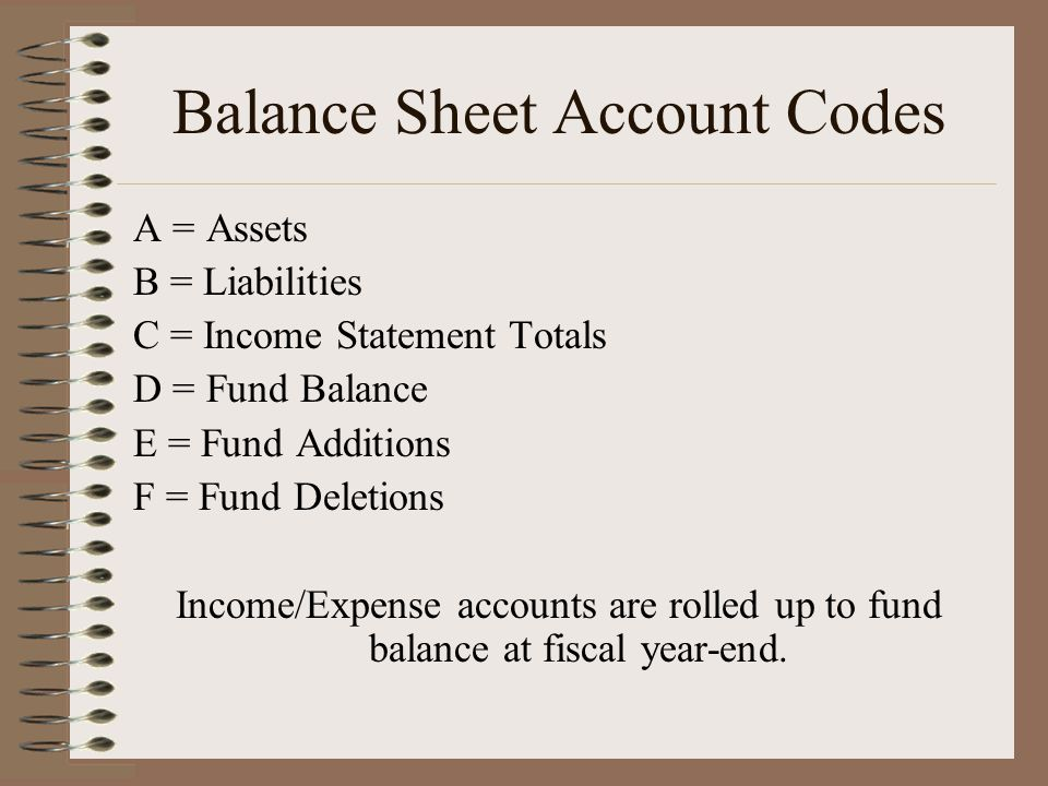 Balance Sheet Account Codes A = Assets B = Liabilities C = Income Statement Totals D = Fund Balance E = Fund Additions F = Fund Deletions Income/Expense accounts are rolled up to fund balance at fiscal year-end.