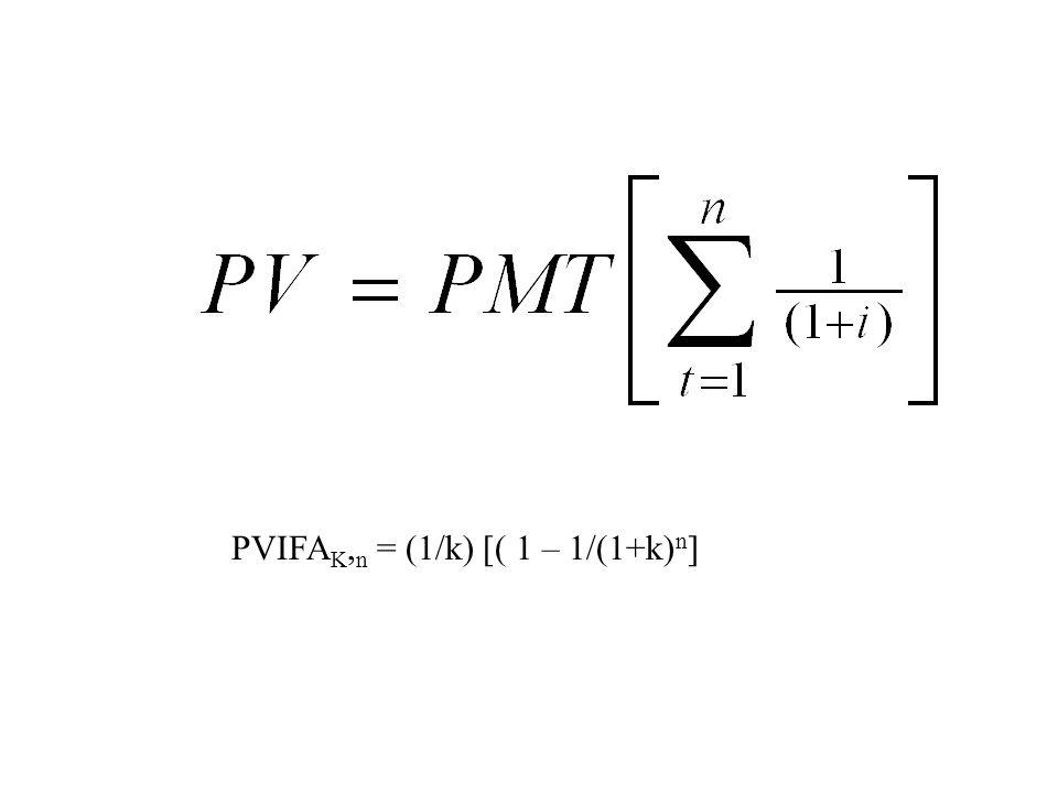 PVIFA K, n = (1/k) [( 1 – 1/(1+k) n ]