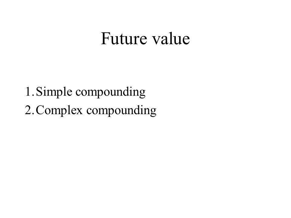 Future value 1.Simple compounding 2.Complex compounding
