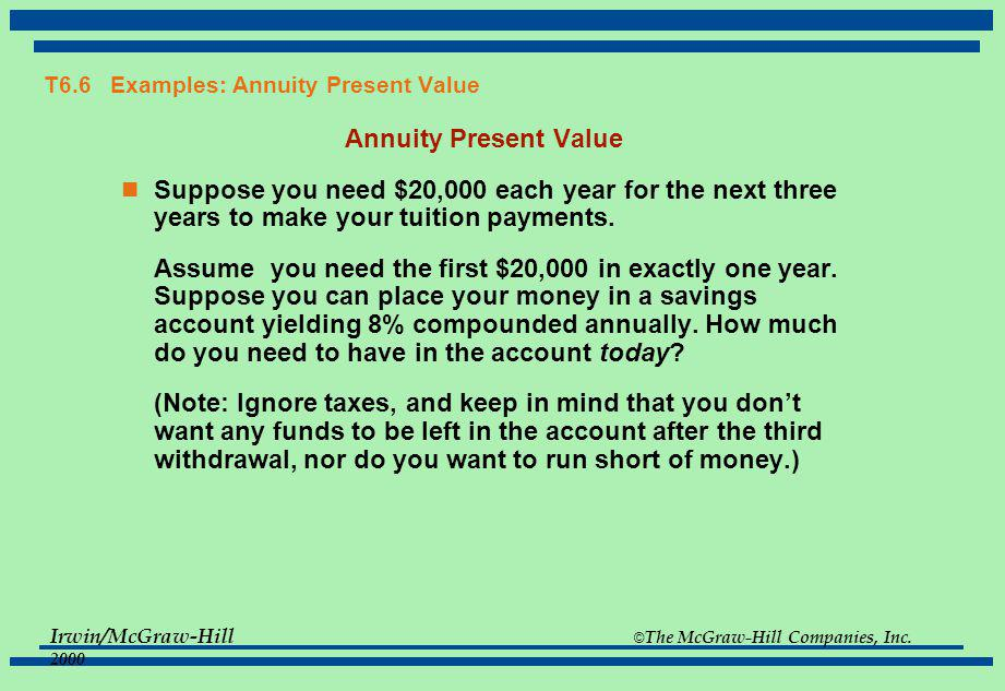 Irwin/McGraw-Hill © The McGraw-Hill Companies, Inc. 2000 T6.5 Annuities and Perpetuities -- Basic Formulas Annuity Present Value PV = C {1 - [1/(1 + r