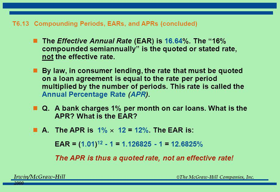 Irwin/McGraw-Hill © The McGraw-Hill Companies, Inc. 2000 T6.13 Compounding Periods, EARs, and APRs (concluded) The Effective Annual Rate (EAR) is ____