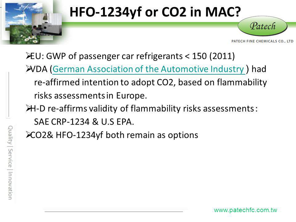 P atech www.patechfc.com.tw HFO-1234yf or CO2 in MAC.