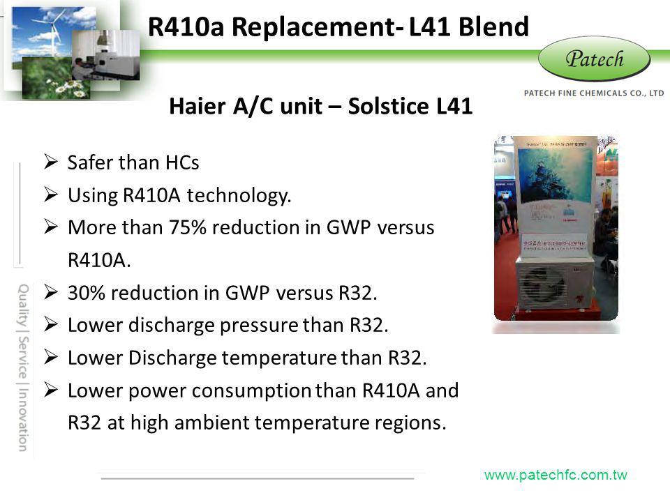 P atech www.patechfc.com.tw R410a Replacement- L41 Blend Haier A/C unit – Solstice L41 Safer than HCs Using R410A technology.