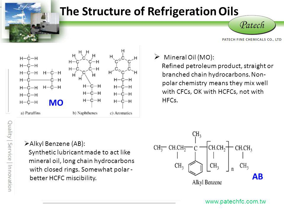 P atech www.patechfc.com.tw The Structure of Refrigeration Oils MO AB Mineral Oil (MO): Refined petroleum product, straight or branched chain hydrocar