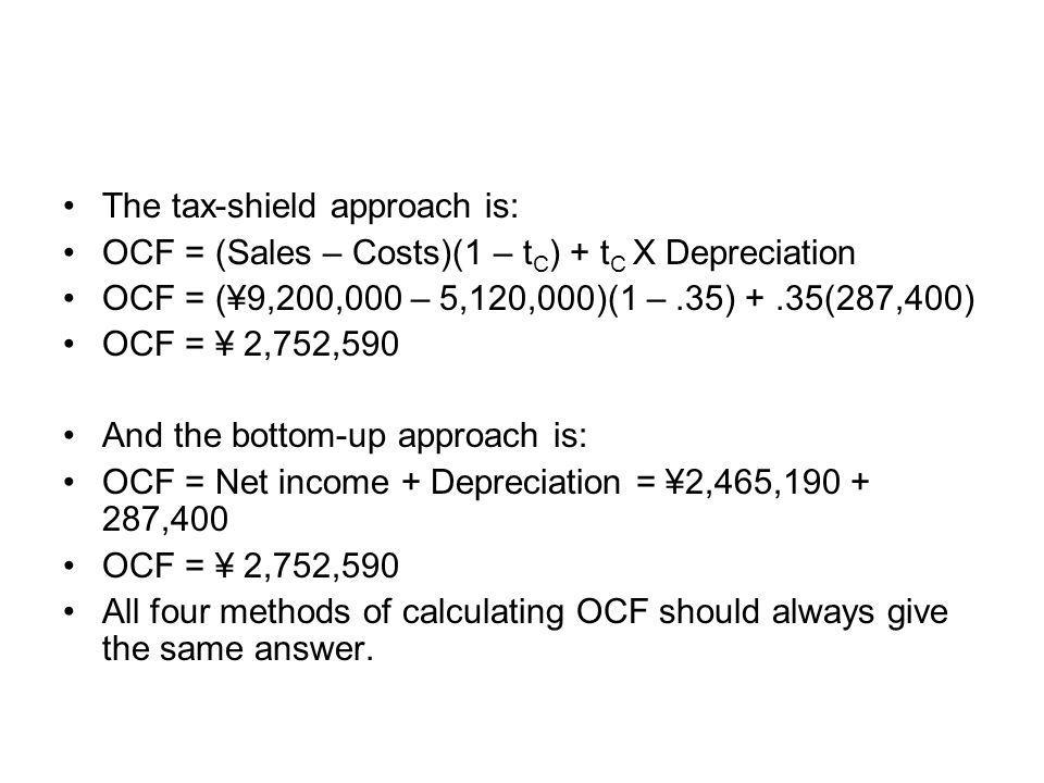 The tax-shield approach is: OCF = (Sales – Costs)(1 – t C ) + t C X Depreciation OCF = (¥9,200,000 – 5,120,000)(1 –.35) +.35(287,400) OCF = ¥ 2,752,59
