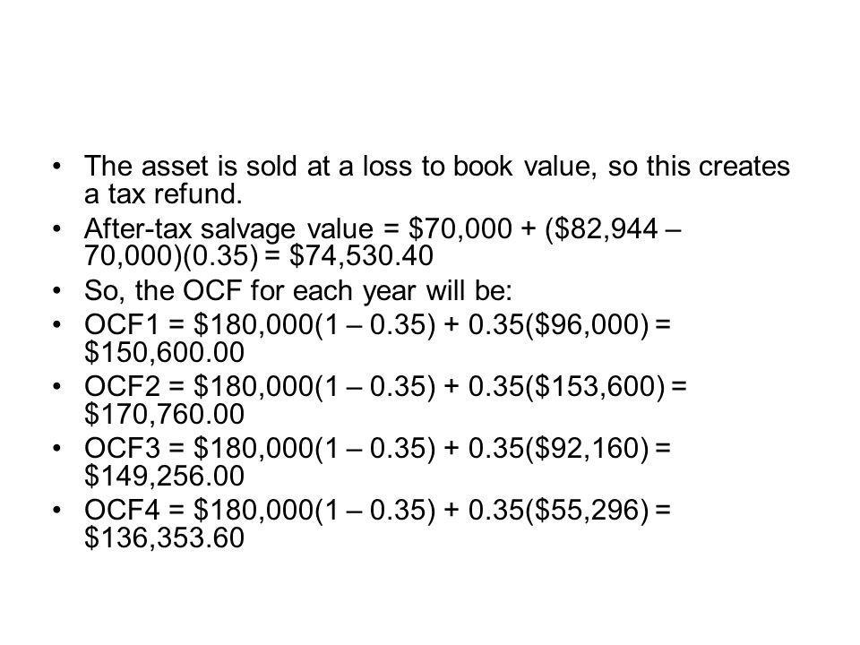 The asset is sold at a loss to book value, so this creates a tax refund. After-tax salvage value = $70,000 + ($82,944 – 70,000)(0.35) = $74,530.40 So,