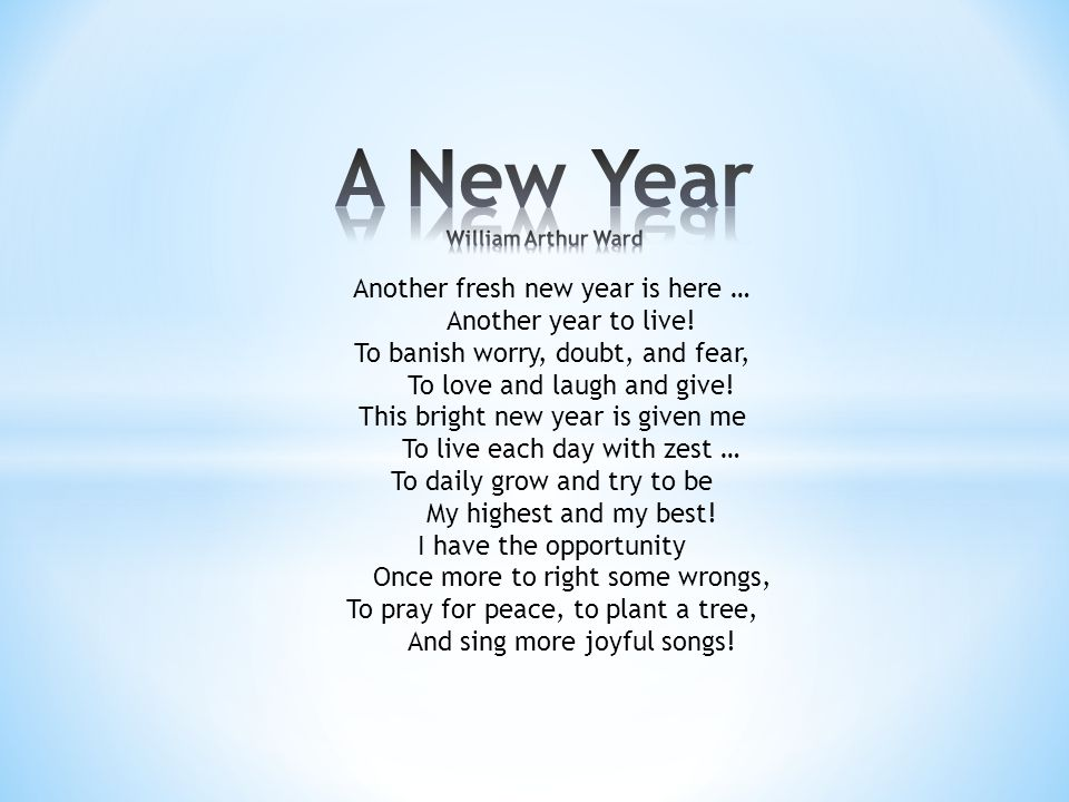 Another fresh new year is here … Another year to live.