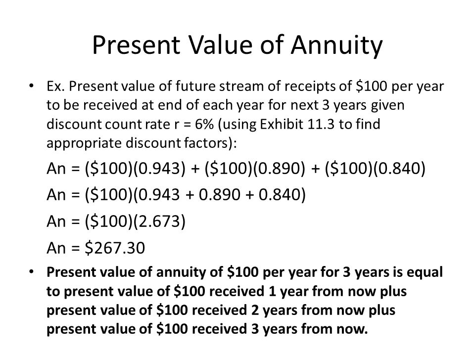 Present Value of Annuity Ex. Present value of future stream of receipts of $100 per year to be received at end of each year for next 3 years given dis