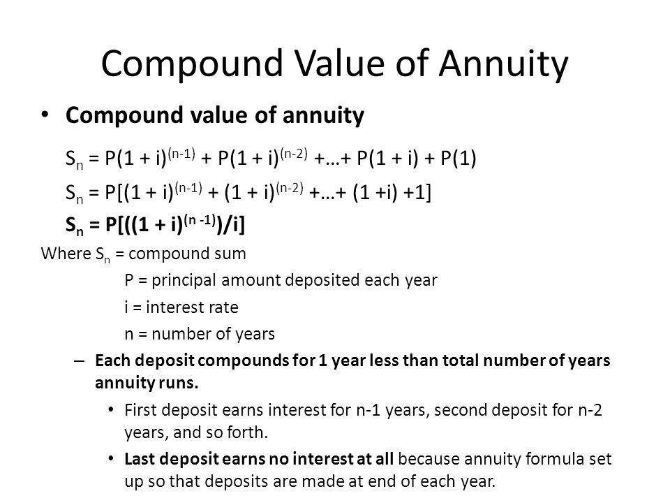 Compound Value of Annuity Compound value of annuity S n = P(1 + i) (n-1) + P(1 + i) (n-2) +…+ P(1 + i) + P(1) S n = P[(1 + i) (n-1) + (1 + i) (n-2) +…