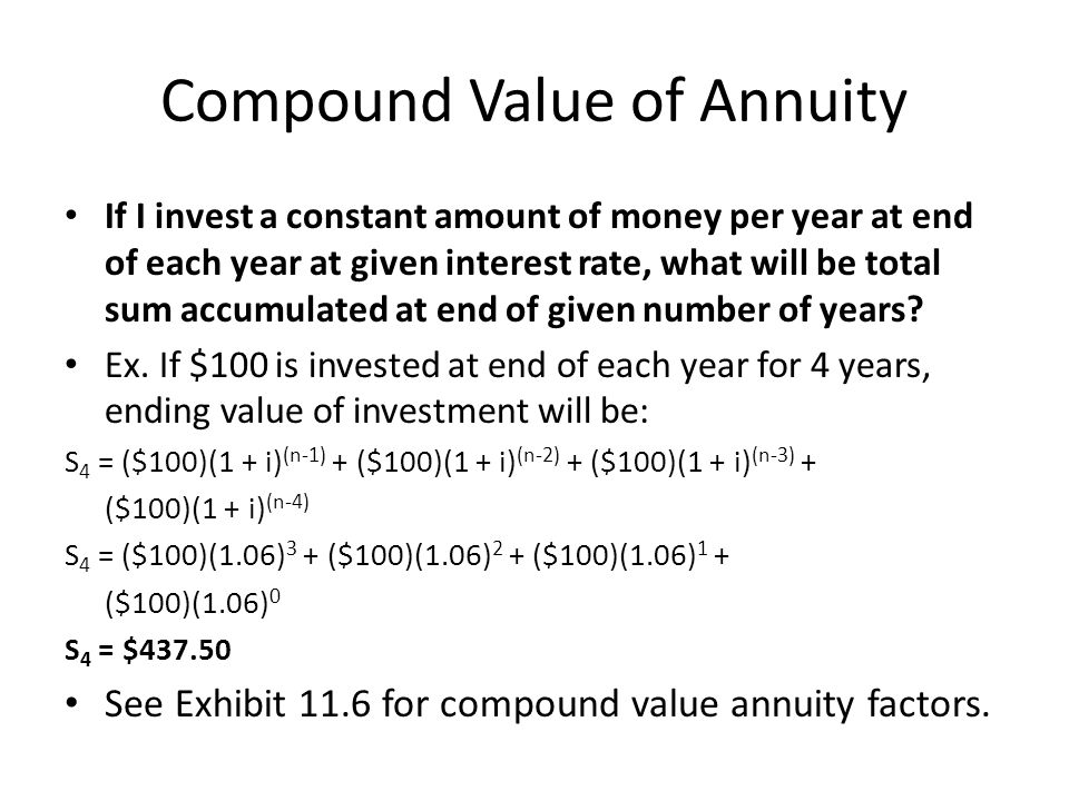 Compound Value of Annuity If I invest a constant amount of money per year at end of each year at given interest rate, what will be total sum accumulat