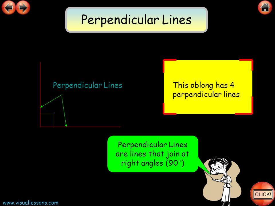 www.visuallessons.com Perpendicular Lines are lines that join at right angles (90°) Perpendicular Lines This oblong has 4 perpendicular lines