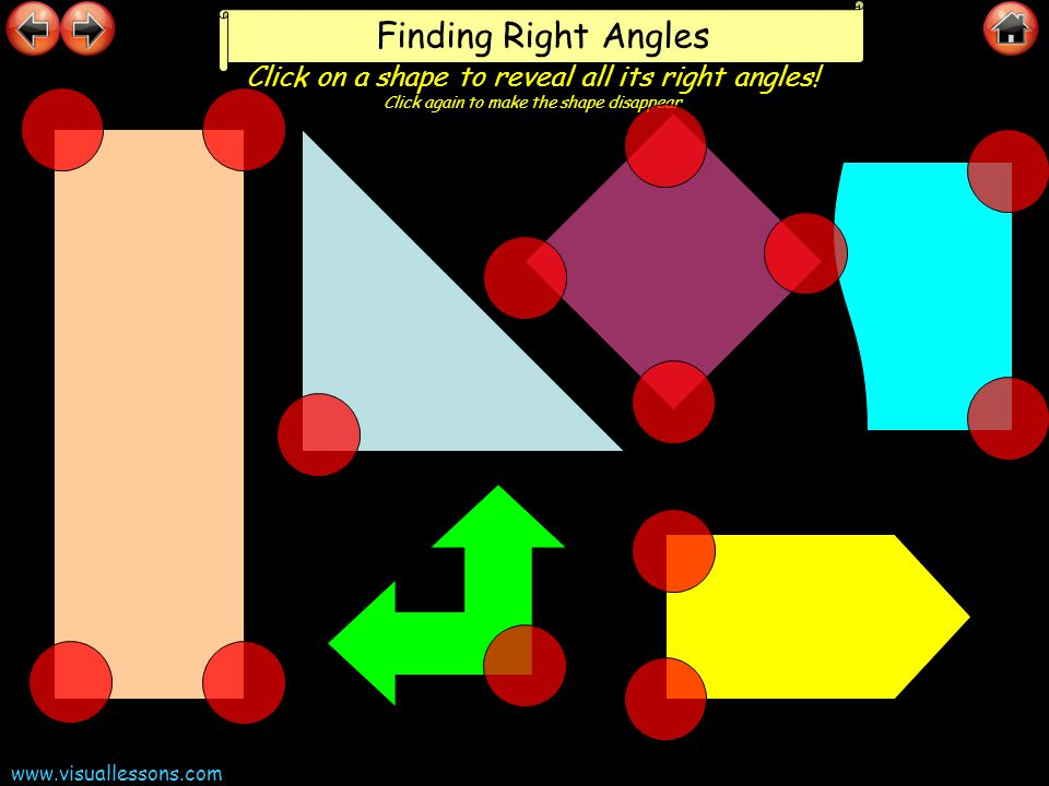 www.visuallessons.com Finding Right Angles Click on a shape to reveal all its right angles! Click again to make the shape disappear