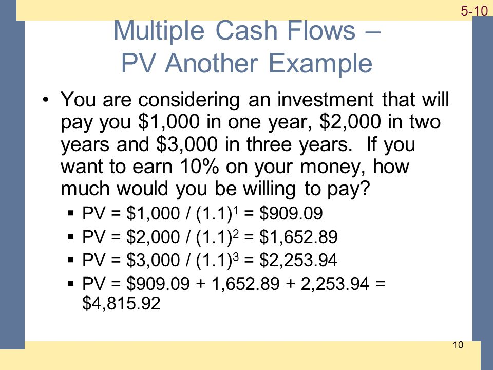 1-10 5-10 10 Multiple Cash Flows – PV Another Example You are considering an investment that will pay you $1,000 in one year, $2,000 in two years and $3,000 in three years.