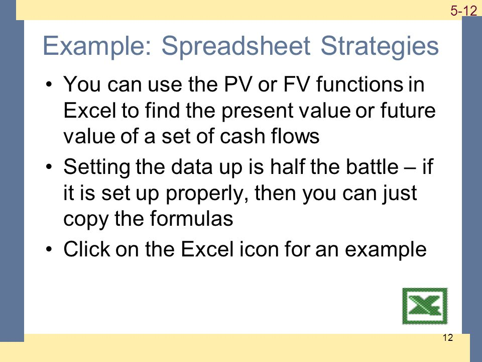 1-12 5-12 12 Example: Spreadsheet Strategies You can use the PV or FV functions in Excel to find the present value or future value of a set of cash flows Setting the data up is half the battle – if it is set up properly, then you can just copy the formulas Click on the Excel icon for an example