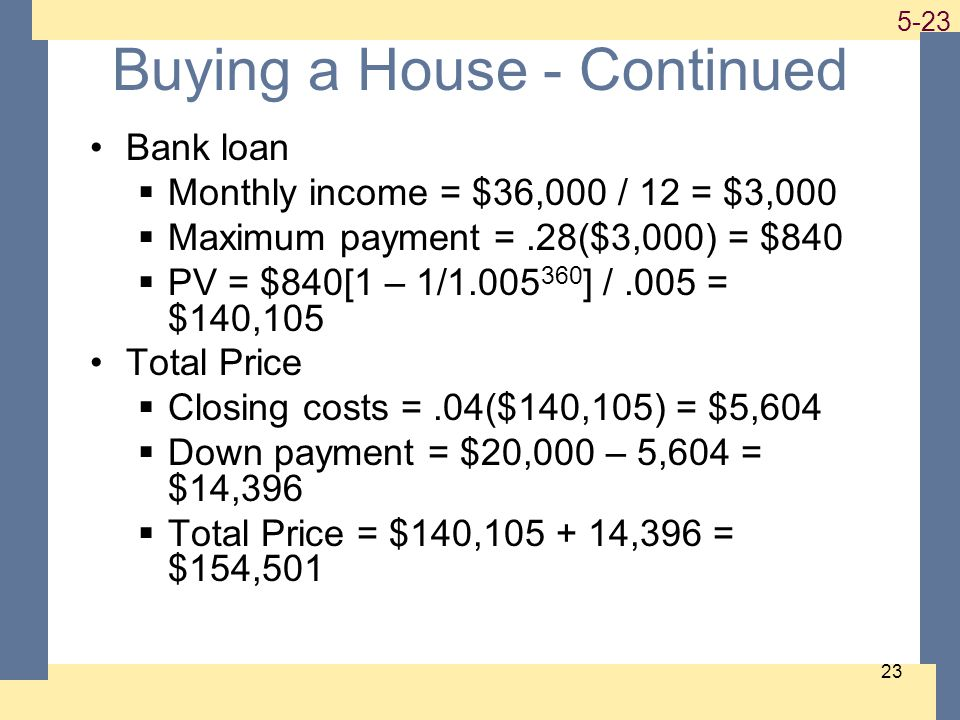 1-23 5-23 23 Buying a House - Continued Bank loan Monthly income = $36,000 / 12 = $3,000 Maximum payment =.28($3,000) = $840 PV = $840[1 – 1/1.005 360 ] /.005 = $140,105 Total Price Closing costs =.04($140,105) = $5,604 Down payment = $20,000 – 5,604 = $14,396 Total Price = $140,105 + 14,396 = $154,501