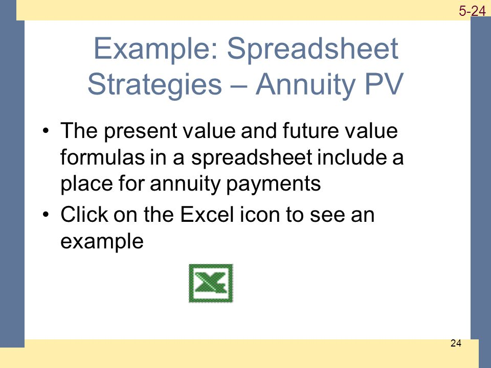 1-24 5-24 24 Example: Spreadsheet Strategies – Annuity PV The present value and future value formulas in a spreadsheet include a place for annuity payments Click on the Excel icon to see an example