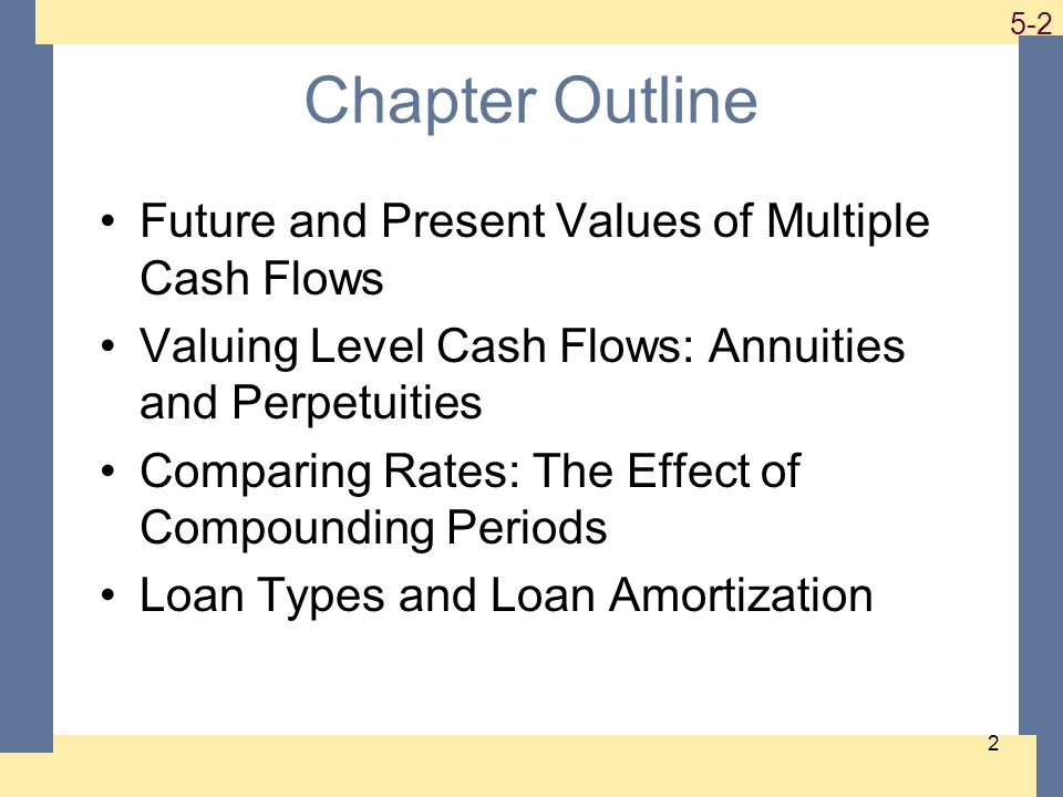 1-2 5-2 2 Chapter Outline Future and Present Values of Multiple Cash Flows Valuing Level Cash Flows: Annuities and Perpetuities Comparing Rates: The Effect of Compounding Periods Loan Types and Loan Amortization