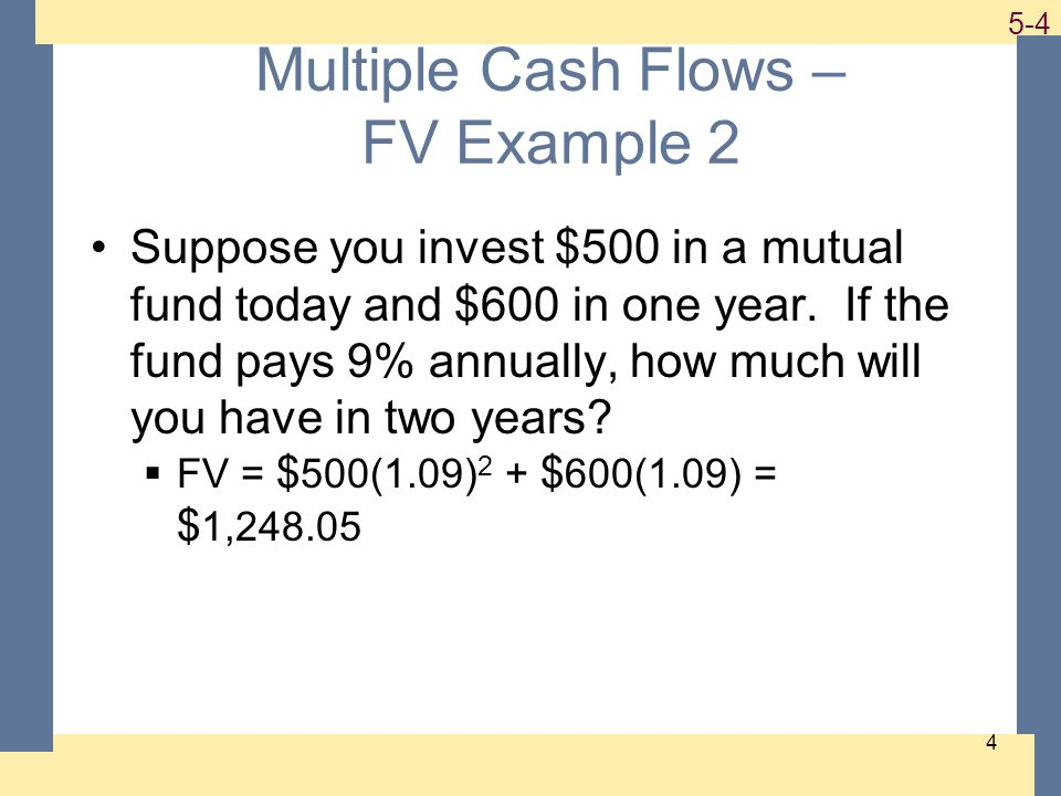 1-5 5-5 5 Example 2 Continued How much will you have in 5 years if you make no further deposits.