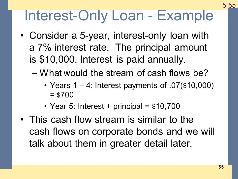 1-55 5-55 55 Interest-Only Loan - Example Consider a 5-year, interest-only loan with a 7% interest rate. The principal amount is $10,000. Interest is