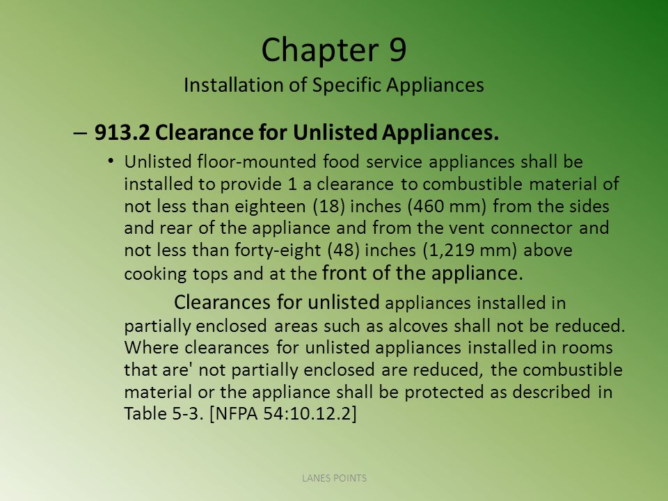 Chapter 9 Installation of Specific Appliances – 913.2 Clearance for Unlisted Appliances. Unlisted floor-mounted food service appliances shall be insta
